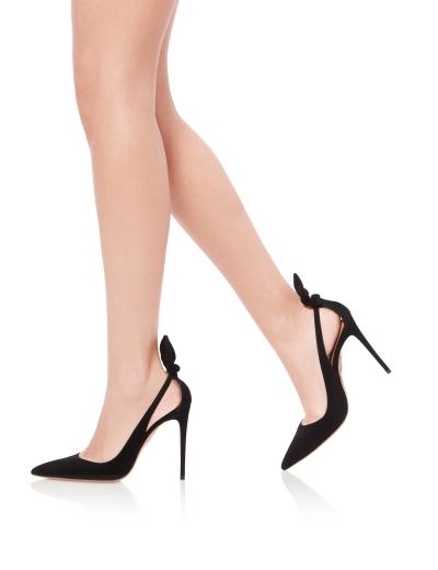 Aquazzura-Pointy-toe-Deneuve-pump-105-Black-Suede-leather-Dressed